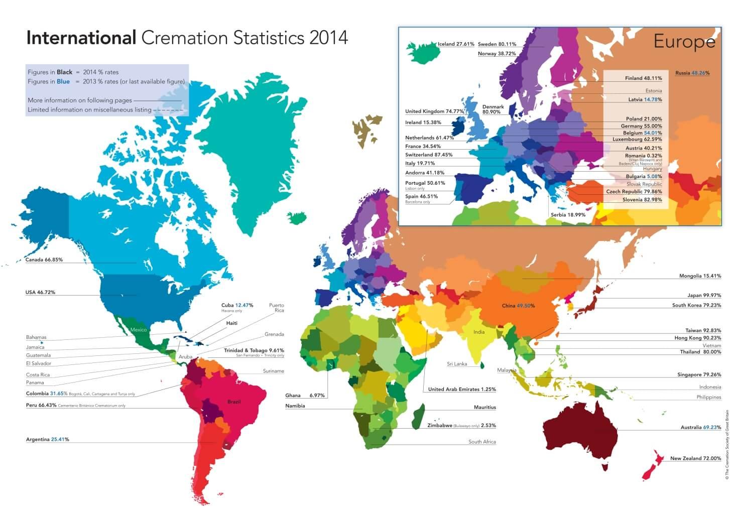 Statystyki kremacji na świecie w 2014 r.